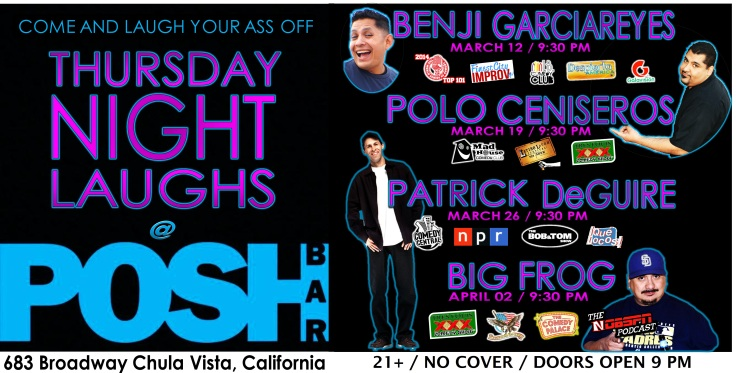 Thursday Night Laughs at POSH Bar Banner MArch 12 to Apr 2