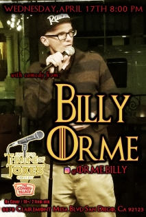 Thorne Of Jokes 2019 Event Poster - Billy Orme - 04.17.19