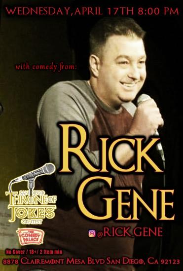 Thorne Of Jokes 2019 Event Poster - Rick Gene - 04.17.19